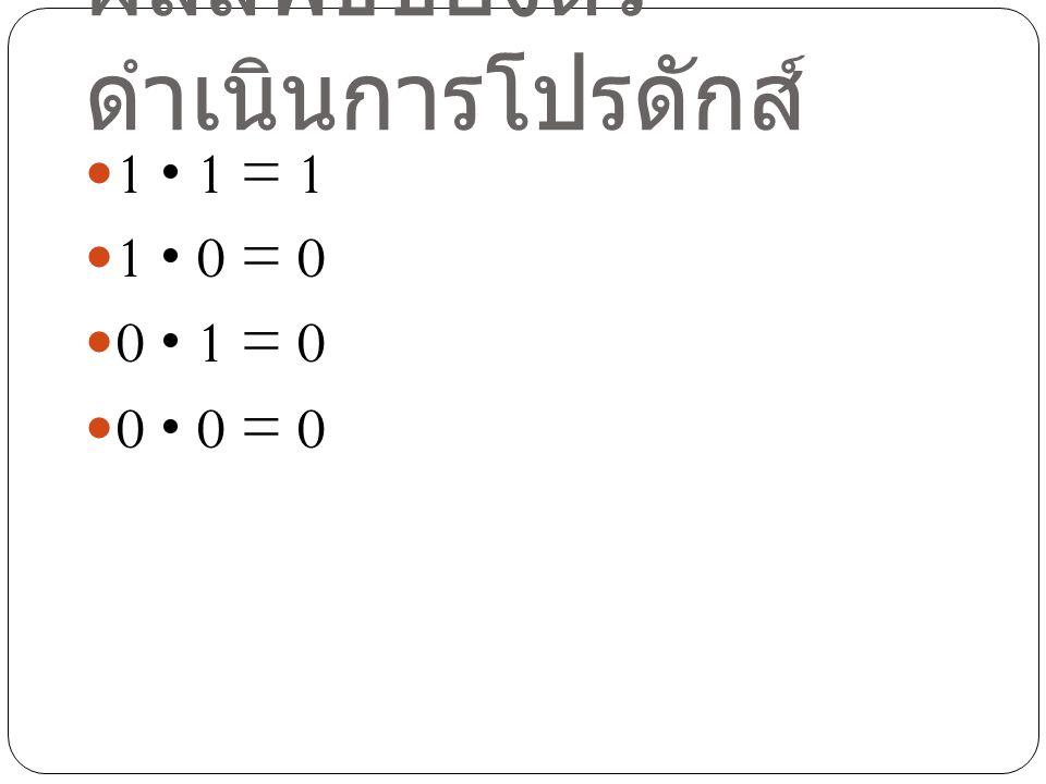 ผลลัพธ์ของตัว ดำเนินการคอมพลีเมนต์ 0 = 1 1 = 0