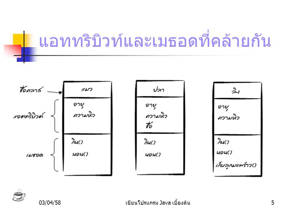 03/04/58เขียนโปรแกรม Java เบื้องต้น16 การโอเวอร์ไรด์เมธอด class ปลา extends สัตว์ { // แอตทริบิวต์ ชื่อ; // เมธอด นอน() { // วิธีการนอนของปลา … }
