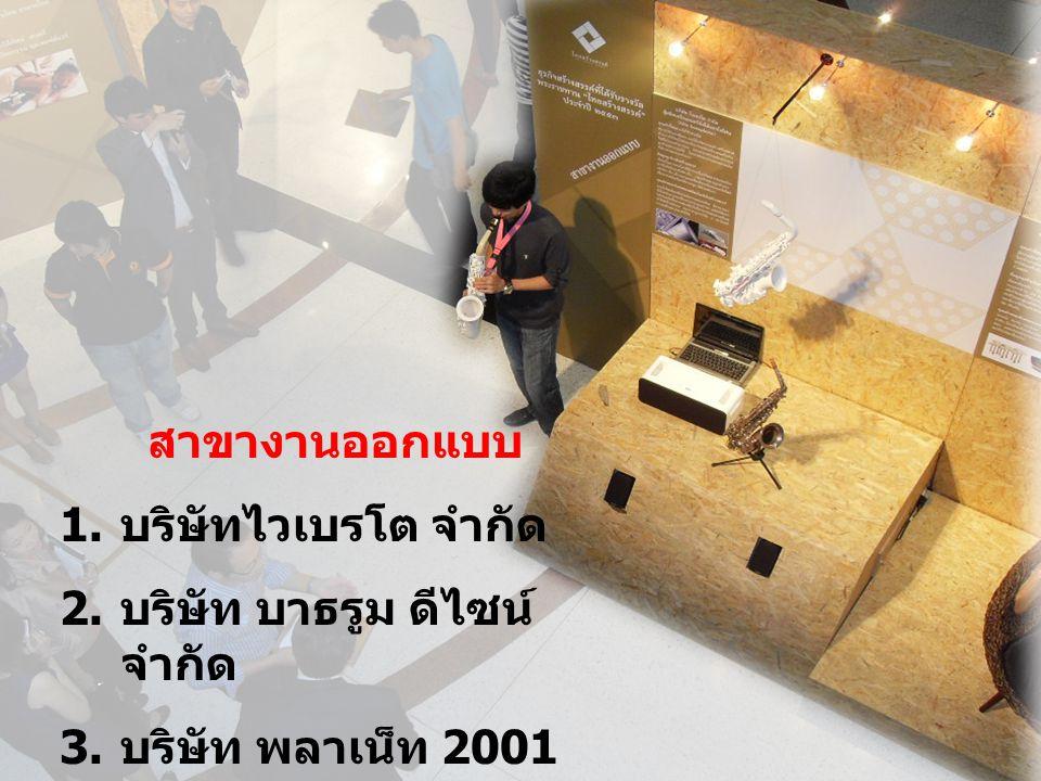 สาขางานออกแบบ 1. บริษัทไวเบรโต จำกัด 2. บริษัท บาธรูม ดีไซน์ จำกัด 3. บริษัท พลาเน็ท 2001 จำกัด