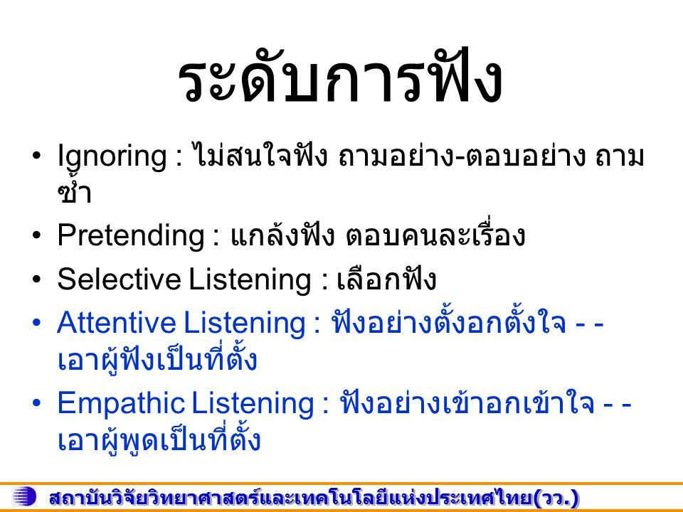 ระดับการฟัง Ignoring : ไม่สนใจฟัง ถามอย่าง - ตอบอย่าง ถาม ซ้ำ Pretending : แกล้งฟัง ตอบคนละเรื่อง Selective Listening : เลือกฟัง Attentive Listening : ฟังอย่างตั้งอกตั้งใจ - - เอาผู้ฟังเป็นที่ตั้ง Empathic Listening : ฟังอย่างเข้าอกเข้าใจ - - เอาผู้พูดเป็นที่ตั้ง