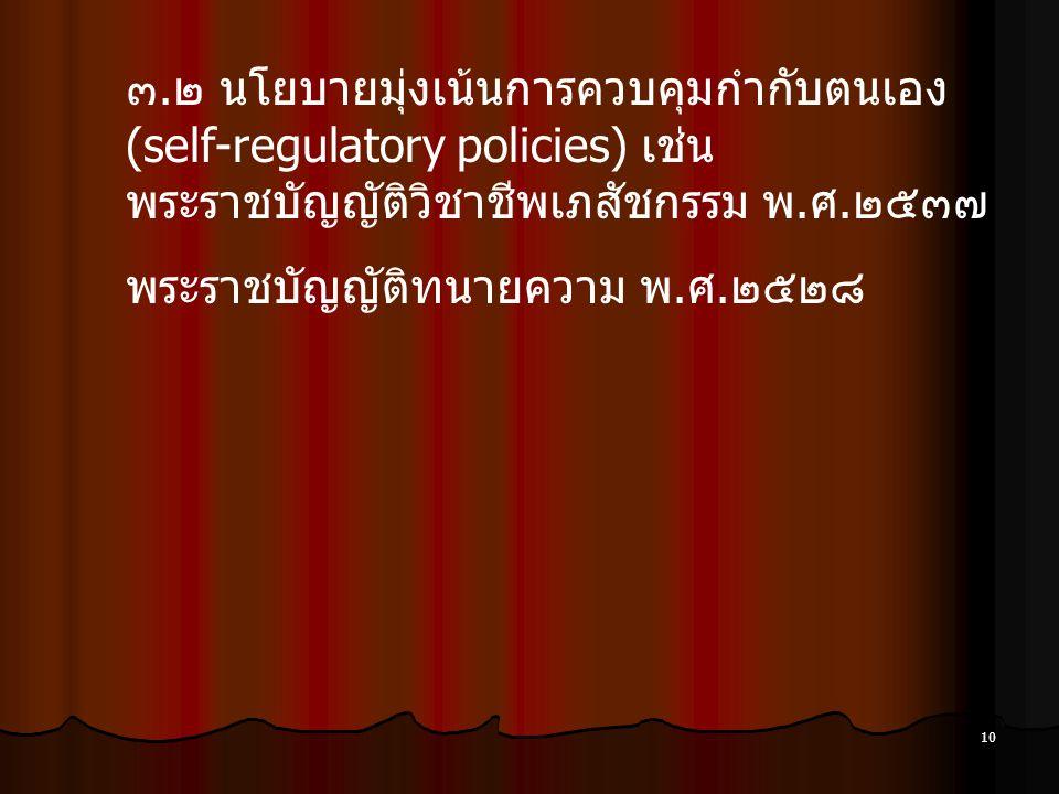 10 ๓. ๒ นโยบายมุ่งเน้นการควบคุมกำกับตนเอง (self-regulatory policies) เช่น พระราชบัญญัติวิชาชีพเภสัชกรรม พ. ศ. ๒๕๓๗ พระราชบัญญัติทนายความ พ. ศ. ๒๕๒๘