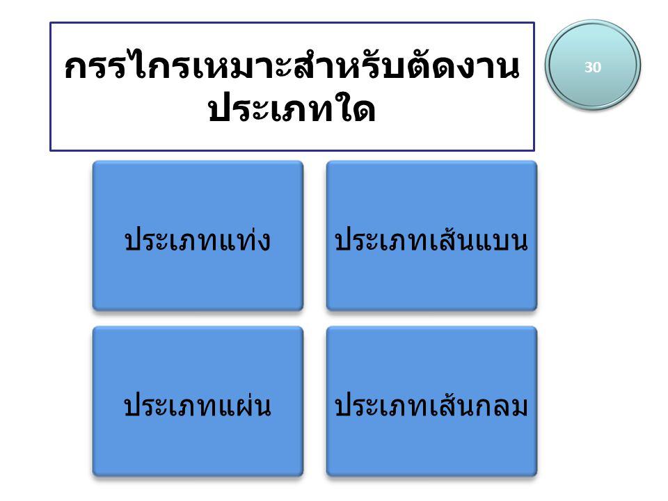 กรรไกรเหมาะสำหรับตัดงาน ประเภทใด 30 ประเภทแท่งประเภทเส้นแบน ประเภทแผ่นประเภทเส้นกลม