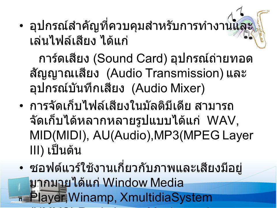 อุปกรณ์สำคัญที่ควบคุมสำหรับการทำงานและ เล่นไฟล์เสียง ได้แก่ การ์ดเสียง (Sound Card) อุปกรณ์ถ่ายทอด สัญญาณเสียง (Audio Transmission) และ อุปกรณ์บันทึกเสียง (Audio Mixer) การจัดเก็บไฟล์เสียงในมัลติมีเดีย สามารถ จัดเก็บได้หลากหลายรูปแบบได้แก่ WAV, MID(MIDI), AU(Audio),MP3(MPEG Layer III) เป็นต้น ซอฟต์แวร์ใช้งานเกี่ยวกับภาพและเสียงมีอยู่ มากมายได้แก่ Window Media Player,Winamp, XmultidiaSystem (XMMS),Real player, Musicmatch, Jukebox, JetAudio, Tunes เป็นต้น