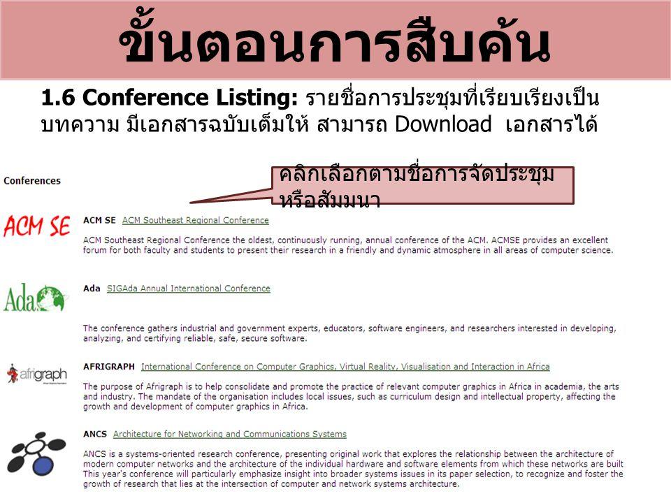 ขั้นตอนการสืบค้น 1.6 Conference Listing: รายชื่อการประชุมที่เรียบเรียงเป็น บทความ มีเอกสารฉบับเต็มให้ สามารถ Download เอกสารได้ คลิกเลือกตามชื่อการจัดประชุม หรือสัมมนา