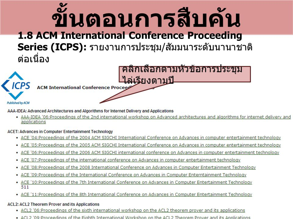 ขั้นตอนการสืบค้น 1.8 ACM International Conference Proceeding Series (ICPS): รายงานการประชุม / สัมมนาระดับนานาชาติ ต่อเนื่อง คลิกเลือกตามหัวข้อการประชุ