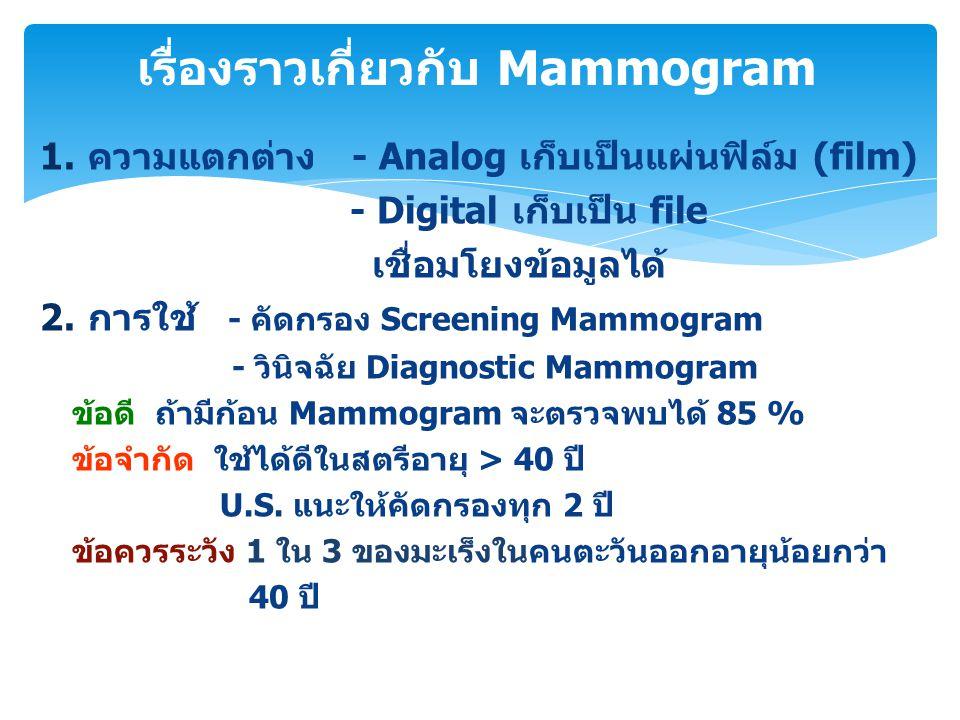 1.ความแตกต่าง - Analog เก็บเป็นแผ่นฟิล์ม (film) - Digital เก็บเป็น file เชื่อมโยงข้อมูลได้ 2.การใช้ - คัดกรอง Screening Mammogram - วินิจฉัย Diagnosti