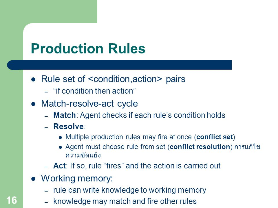 "Production Rules Rule set of pairs – ""if condition then action"" Match-resolve-act cycle – Match: Agent checks if each rule's condition holds – Resolve"