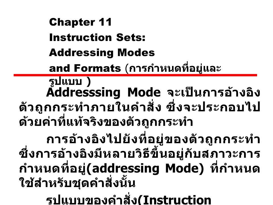 Chapter 11 Instruction Sets: Addressing Modes and Formats ( การกำหนดที่อยู่และ รูปแบบ ) Addresssing Mode จะเป็นการอ้างอิง ตัวถูกกระทำภายในคำสั่ง ซึ่งจ