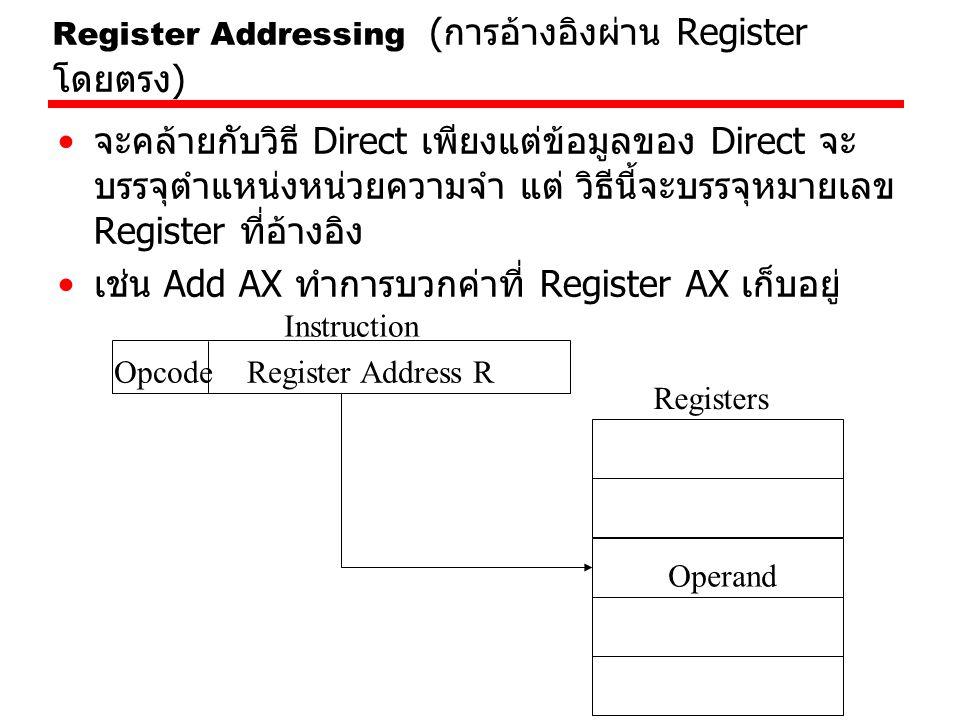 Register Addressing ( การอ้างอิงผ่าน Register โดยตรง ) จะคล้ายกับวิธี Direct เพียงแต่ข้อมูลของ Direct จะ บรรจุตำแหน่งหน่วยความจำ แต่ วิธีนี้จะบรรจุหมา
