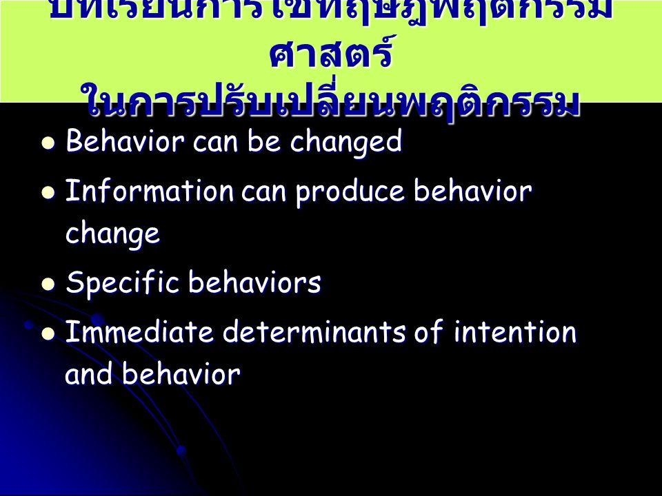 บทเรียนการใช้ทฤษฎีพฤติกรรม ศาสตร์ ในการปรับเปลี่ยนพฤติกรรม Behavior can be changed Behavior can be changed Information can produce behavior change Inf