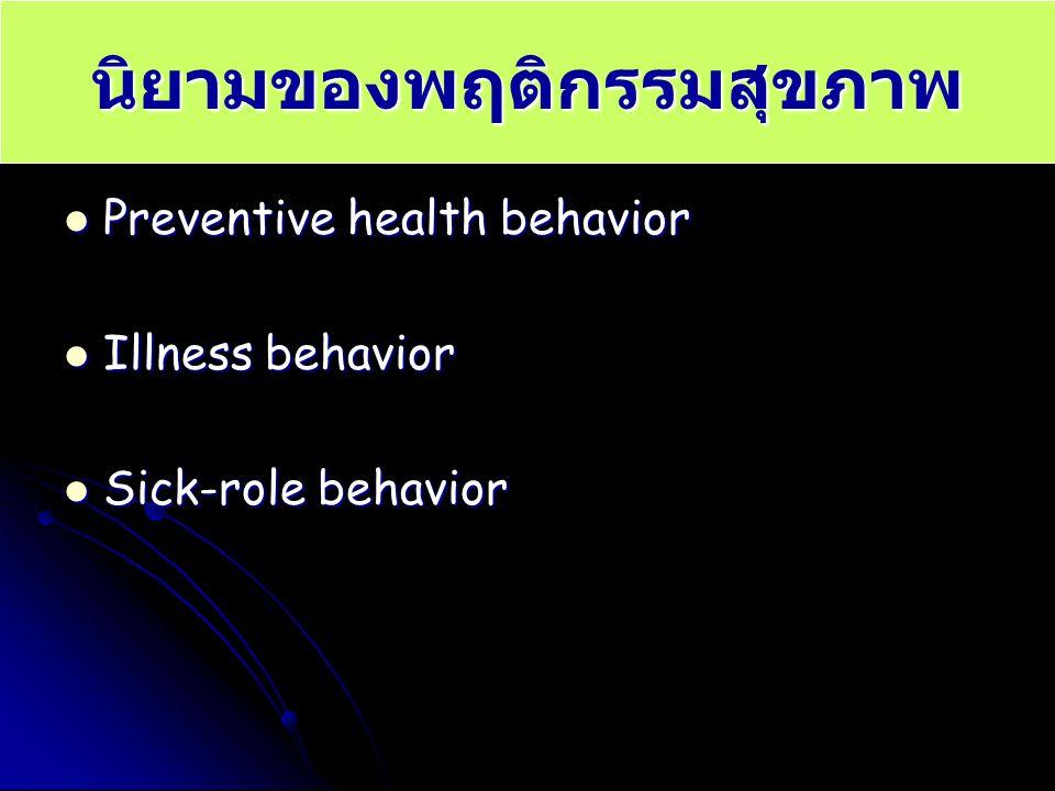 นิยามของพฤติกรรมสุขภาพ Preventive health behavior Preventive health behavior Illness behavior Illness behavior Sick-role behavior Sick-role behavior