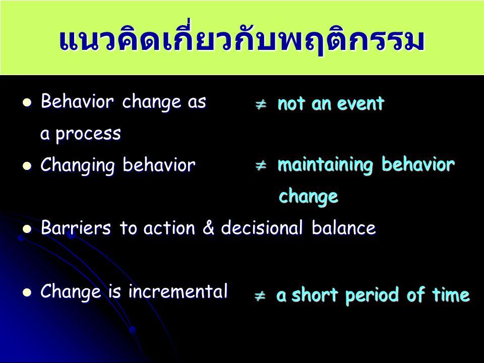 แนวคิดเกี่ยวกับพฤติกรรม Behavior change as Behavior change as a process Changing behavior Changing behavior Barriers to action & decisional balance Ba