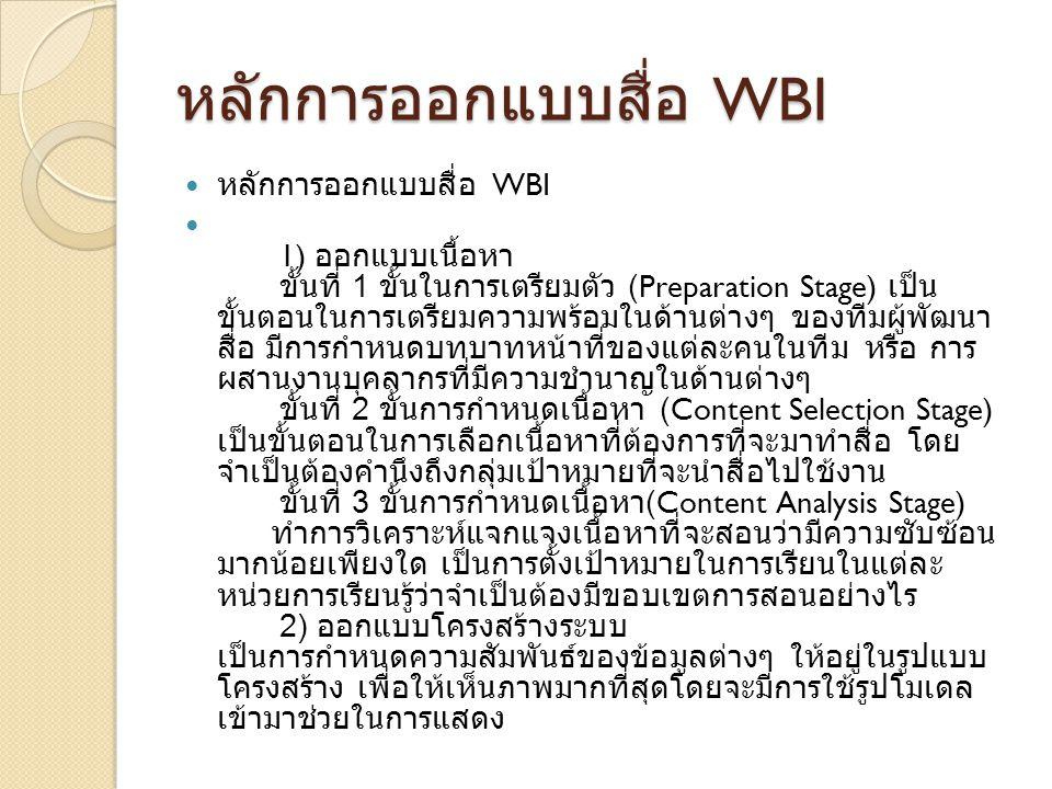 หลักการออกแบบสื่อ WBI หลักการออกแบบสื่อ WBI หลักการออกแบบสื่อ WBI 1) ออกแบบเนื้อหา ขั้นที่ 1 ขั้นในการเตรียมตัว (Preparation Stage) เป็น ขั้นตอนในการเ