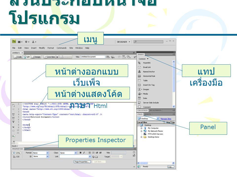 ส่วนประกอบหน้าจอ โปรแกรม เมนู Properties Inspector Panel แทป เครื่องมือ หน้าต่างออกแบบ เว็บเพ็จ หน้าต่างแสดงโค้ด ภาษา Html