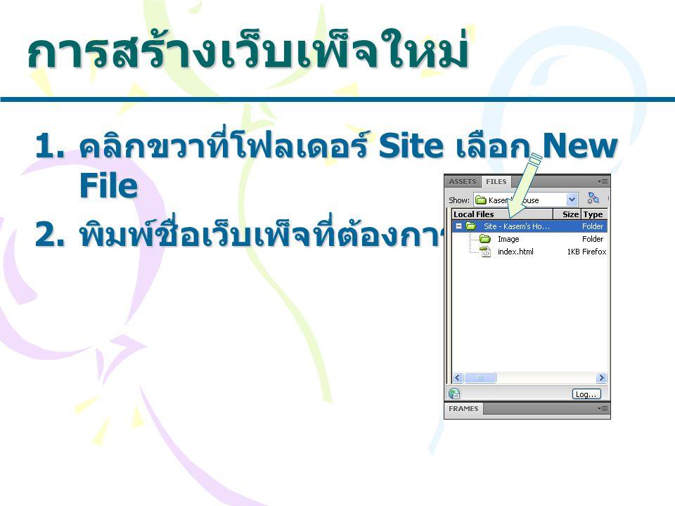 การสร้างเว็บเพ็จใหม่ 1. คลิกขวาที่โฟลเดอร์ Site เลือก New File 2. พิมพ์ชื่อเว็บเพ็จที่ต้องการ