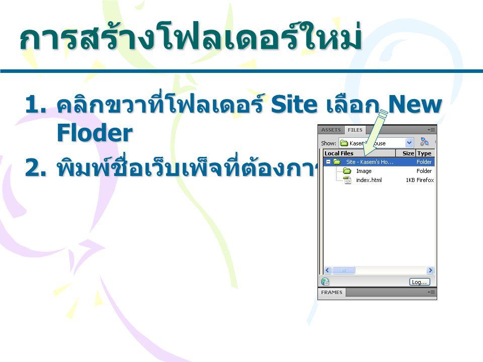 การสร้างโฟลเดอร์ใหม่ 1. คลิกขวาที่โฟลเดอร์ Site เลือก New Floder 2. พิมพ์ชื่อเว็บเพ็จที่ต้องการ
