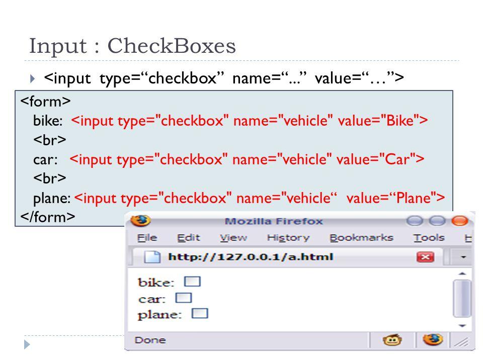 Input : CheckBoxes  bike: car: plane: