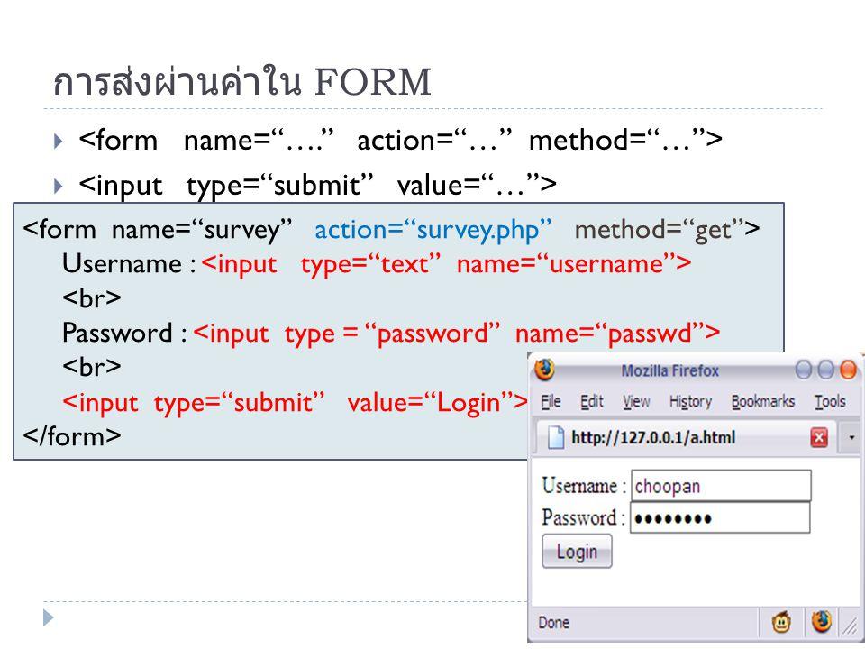 การส่งผ่านค่าใน FORM  Username : Password :