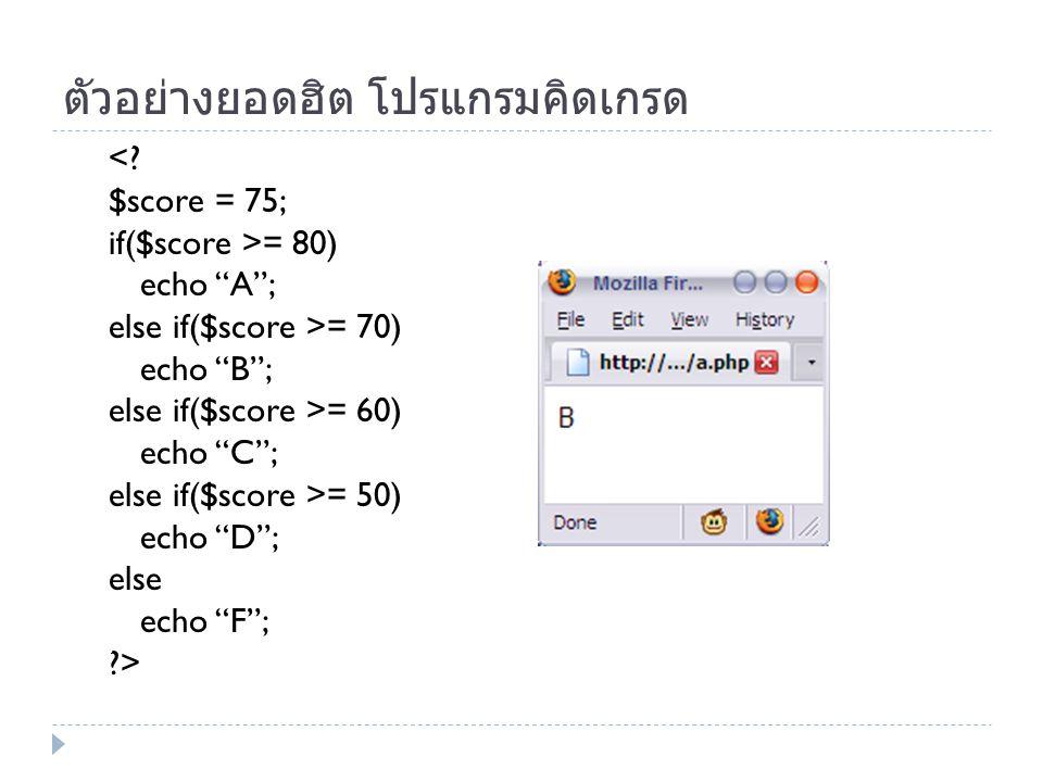 """ตัวอย่างยอดฮิต โปรแกรมคิดเกรด <? $score = 75; if($score >= 80) echo """"A""""; else if($score >= 70) echo """"B""""; else if($score >= 60) echo """"C""""; else if($scor"""