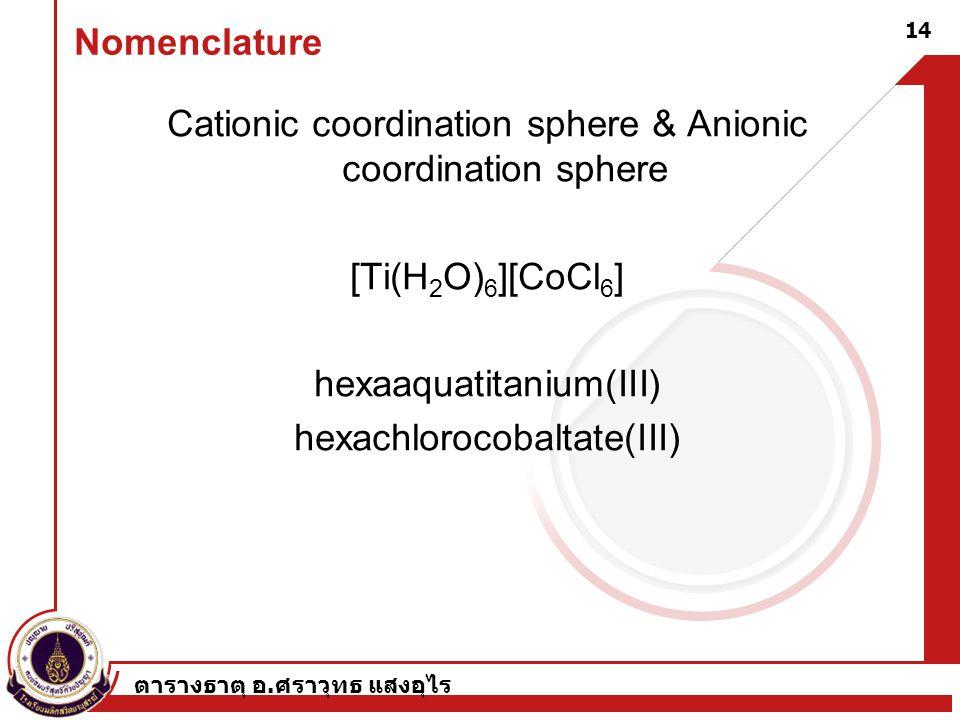 ตารางธาตุ อ. ศราวุทธ แสงอุไร 14 Nomenclature Cationic coordination sphere & Anionic coordination sphere [Ti(H 2 O) 6 ][CoCl 6 ] hexaaquatitanium(III)
