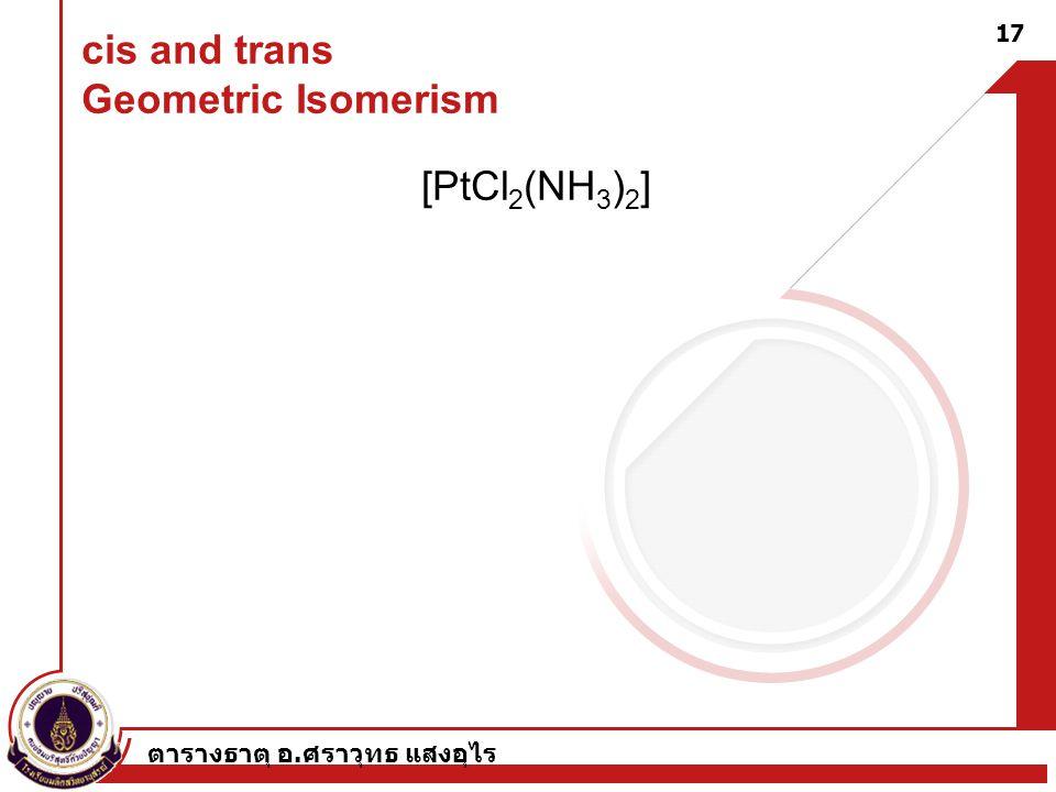 ตารางธาตุ อ. ศราวุทธ แสงอุไร 17 cis and trans Geometric Isomerism [PtCl 2 (NH 3 ) 2 ]