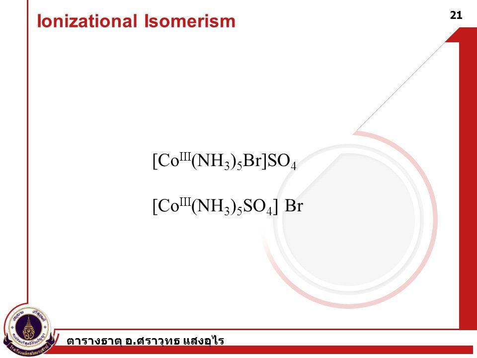 ตารางธาตุ อ. ศราวุทธ แสงอุไร 21 Ionizational Isomerism [Co III (NH 3 ) 5 Br]SO 4 [Co III (NH 3 ) 5 SO 4 ] Br