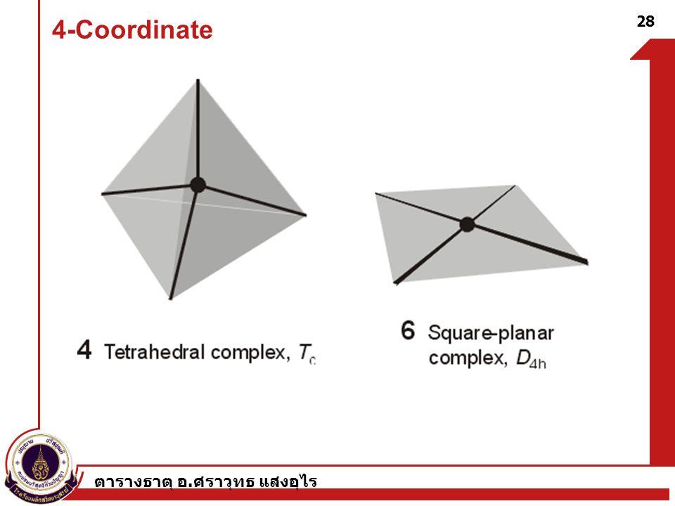 ตารางธาตุ อ. ศราวุทธ แสงอุไร 28 4-Coordinate