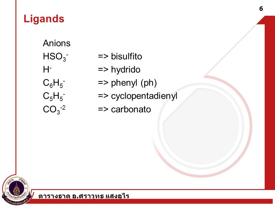 ตารางธาตุ อ. ศราวุทธ แสงอุไร 6 Anions HSO 3 - => bisulfito H - => hydrido C 6 H 5 - => phenyl (ph) C 5 H 5 - => cyclopentadienyl CO 3 -2 => carbonato