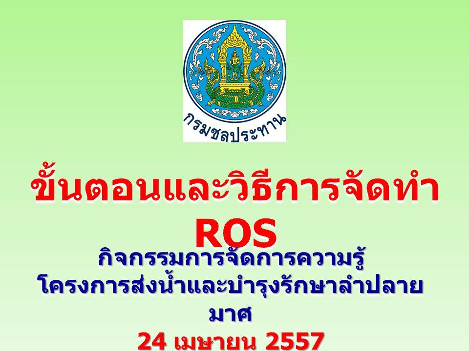 ขั้นตอนและวิธีการจัดทำ ROS กิจกรรมการจัดการความรู้ โครงการส่งน้ำและบำรุงรักษาลำปลาย มาศ 24 เมษายน 2557 กิจกรรมการจัดการความรู้ โครงการส่งน้ำและบำรุงรักษาลำปลาย มาศ 24 เมษายน 2557