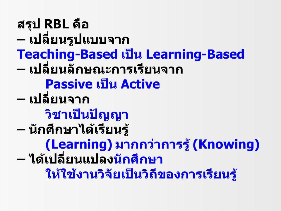 สรุป RBL คือ – เปลี่ยนรูปแบบจาก Teaching-Based เป็น Learning-Based – เปลี่ยนลักษณะการเรียนจาก Passive เป็น Active – เปลี่ยนจาก วิชาเป็นปัญญา – นักศึกษ