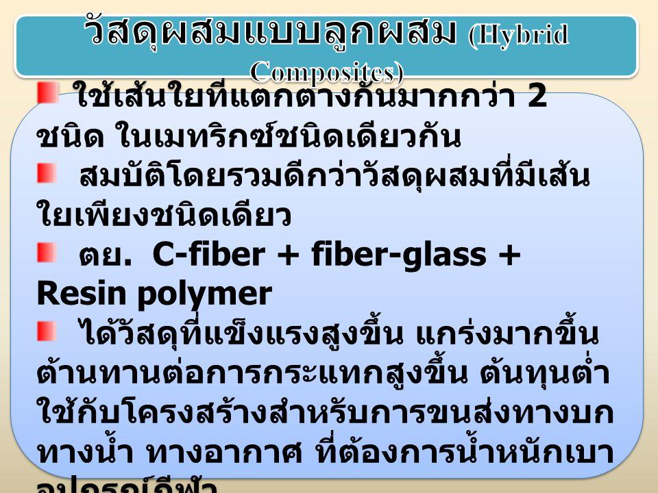 ใช้เส้นใยที่แตกต่างกันมากกว่า 2 ชนิด ในเมทริกซ์ชนิดเดียวกัน สมบัติโดยรวมดีกว่าวัสดุผสมที่มีเส้น ใยเพียงชนิดเดียว ตย. C-fiber + fiber-glass + Resin pol