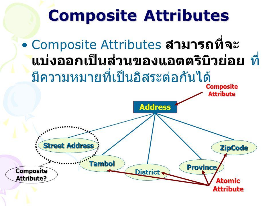 Composite Attributes Composite Attributes สามารถที่จะ แบ่งออกเป็นส่วนของแอตตริบิวย่อย ที่ มีความหมายที่เป็นอิสระต่อกันได้ Address Street Address Tambo