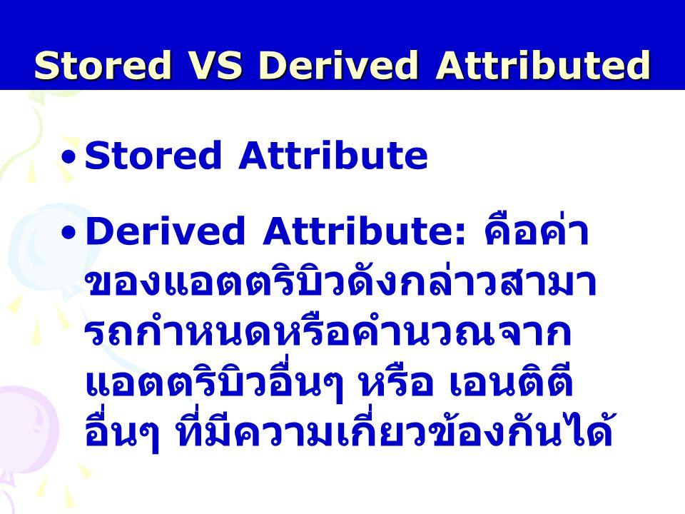 Stored VS Derived Attributed Stored Attribute Derived Attribute: คือค่า ของแอตตริบิวดังกล่าวสามา รถกำหนดหรือคำนวณจาก แอตตริบิวอื่นๆ หรือ เอนติตี อื่นๆ