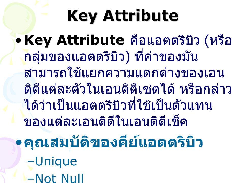 Key Attribute Key Attribute คือแอตตริบิว ( หรือ กลุ่มของแอตตริบิว ) ที่ค่าของมัน สามารถใช้แยกความแตกต่างของเอน ติตีแต่ละตัวในเอนติตีเซตได้ หรือกล่าว ไ