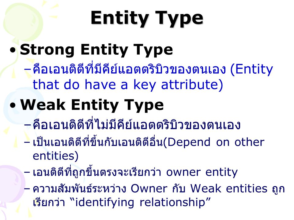 Entity Type Strong Entity Type – คือเอนติตีที่มีคีย์แอตตริบิวของตนเอง (Entity that do have a key attribute) Weak Entity Type – คือเอนติตีที่ไม่มีคีย์แ