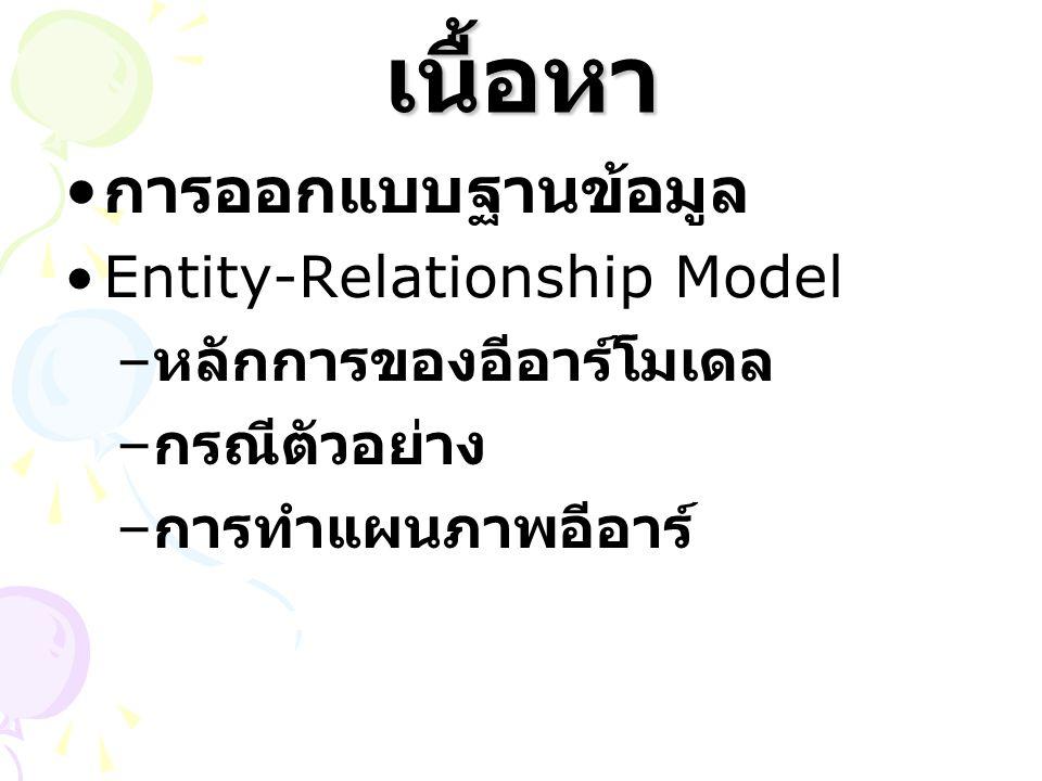 เนื้อหา การออกแบบฐานข้อมูล Entity-Relationship Model – หลักการของอีอาร์โมเดล – กรณีตัวอย่าง – การทำแผนภาพอีอาร์