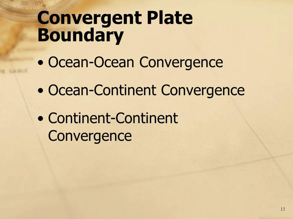 15 Convergent Plate Boundary Ocean-Ocean Convergence Ocean-Continent Convergence Continent-Continent Convergence