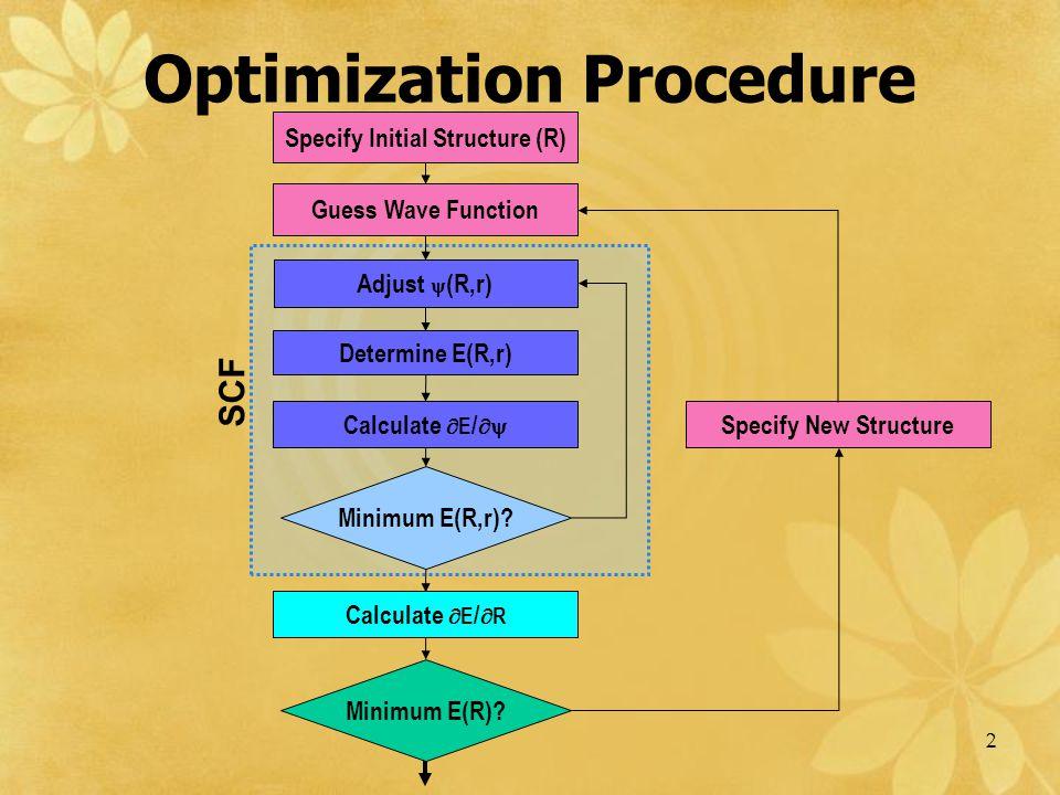 2 Optimization Procedure Specify Initial Structure (R) Guess Wave Function Adjust  (R,r) Determine E(R,r) Minimum E(R,r)? Minimum E(R)? Calculate  E