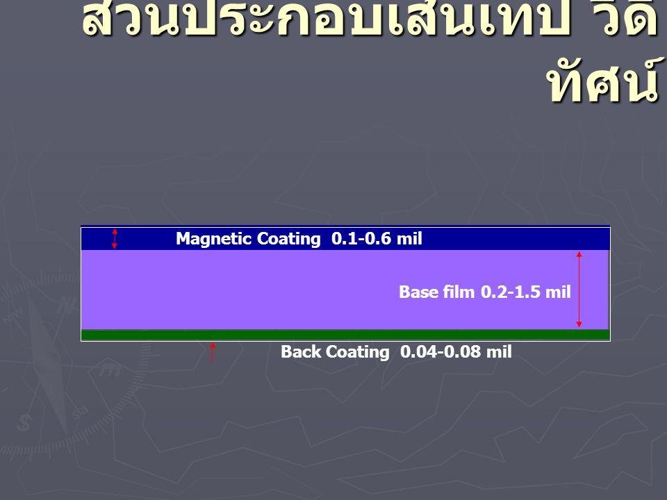 ส่วนประกอบเส้นเทป วีดิ ทัศน์ Base film 0.2-1.5 mil Magnetic Coating 0.1-0.6 mil Back Coating 0.04-0.08 mil