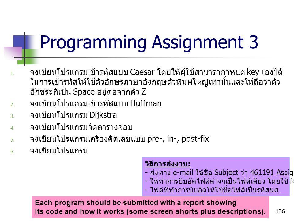 136 Programming Assignment 3  จงเขียนโปรแกรมเข้ารหัสแบบ Caesar โดยให้ผู้ใช้สามารถกำหนด key เองได้ ในการเข้ารหัสให้ใช้ตัวอักษรภาษาอังกฤษตัวพิมพ์ใหญ่เ