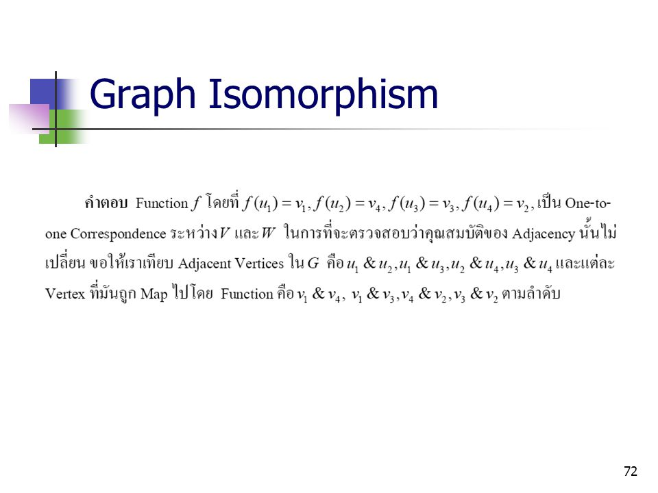 72 Graph Isomorphism
