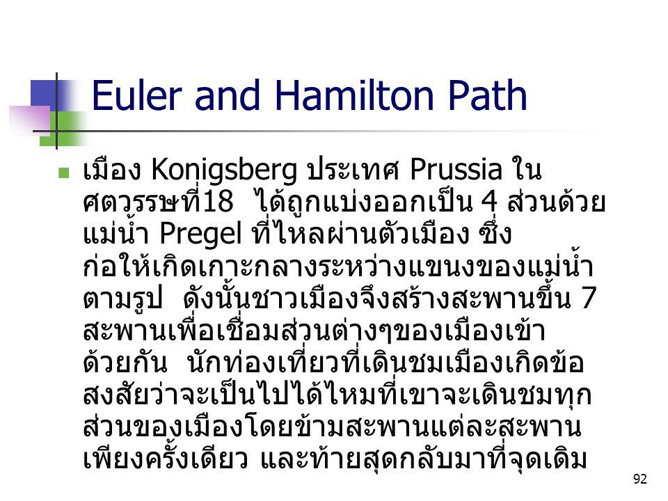 92 Euler and Hamilton Path เมือง Konigsberg ประเทศ Prussia ใน ศตวรรษที่ 18 ได้ถูกแบ่งออกเป็น 4 ส่วนด้วย แม่น้ำ Pregel ที่ไหลผ่านตัวเมือง ซึ่ง ก่อให้เก