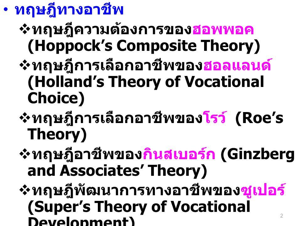 ทฤษฎีทางอาชีพ  ทฤษฎีความต้องการของฮอพพอค (Hoppock's Composite Theory)  ทฤษฎีการเลือกอาชีพของฮอลแลนด์ (Holland's Theory of Vocational Choice)  ทฤษฎีการเลือกอาชีพของโรว์ (Roe's Theory)  ทฤษฎีอาชีพของกินสเบอร์ก (Ginzberg and Associates' Theory)  ทฤษฎีพัฒนาการทางอาชีพของซูเปอร์ (Super's Theory of Vocational Development)  ทฤษฎีของไทด์แมน และ โอฮารา (Tiedman and O'Hara Theory of Career Development) 2