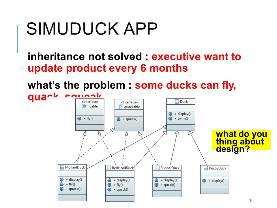 SIMUDUCK APP inheritance not solved : executive want to update product every 6 months what's the problem : some ducks can fly, quack, squeak,… interfa