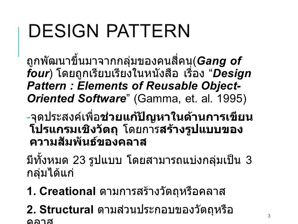 "DESIGN PATTERN ถูกพัฒนาขึ้นมาจากกลุ่มของคนสี่คน (Gang of four) โดยถูกเรียบเรียงในหนังสือ เรื่อง ""Design Pattern : Elements of Reusable Object- Oriente"