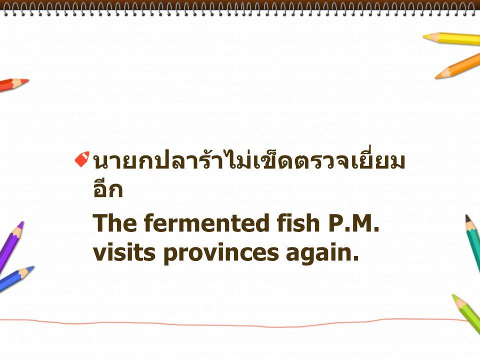 นายกปลาร้าไม่เข็ดตรวจเยี่ยม อีก The fermented fish P.M. visits provinces again.