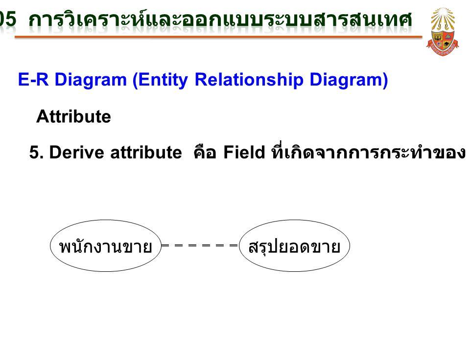 E-R Diagram (Entity Relationship Diagram) Attribute 5. Derive attribute คือ Field ที่เกิดจากการกระทำของ Field อื่น พนักงานขายสรุปยอดขาย