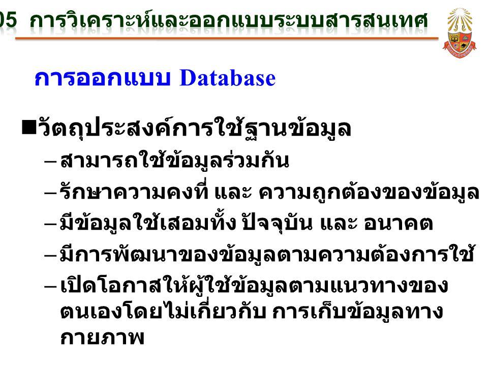การออกแบบ Database n วัตถุประสงค์การใช้ฐานข้อมูล – สามารถใช้ข้อมูลร่วมกัน – รักษาความคงที่ และ ความถูกต้องของข้อมูล – มีข้อมูลใช้เสอมทั้ง ปัจจุบัน และ