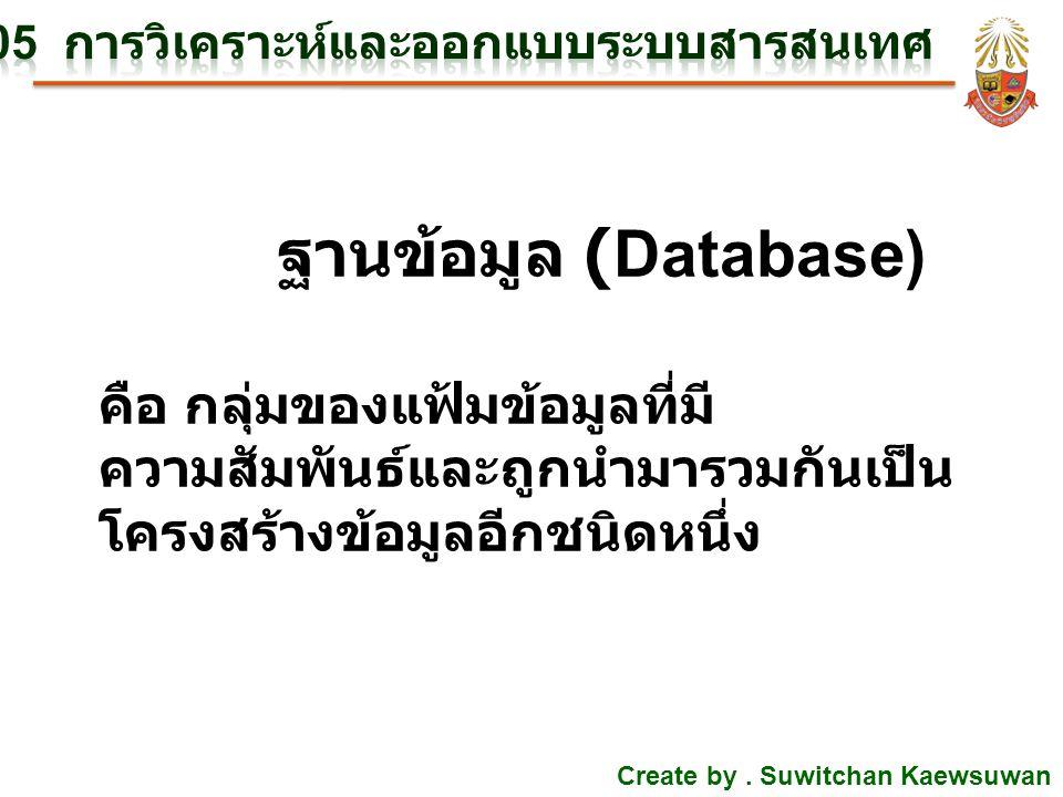 Create by. Suwitchan Kaewsuwan ฐานข้อมูล (Database) คือ กลุ่มของแฟ้มข้อมูลที่มี ความสัมพันธ์และถูกนำมารวมกันเป็น โครงสร้างข้อมูลอีกชนิดหนึ่ง