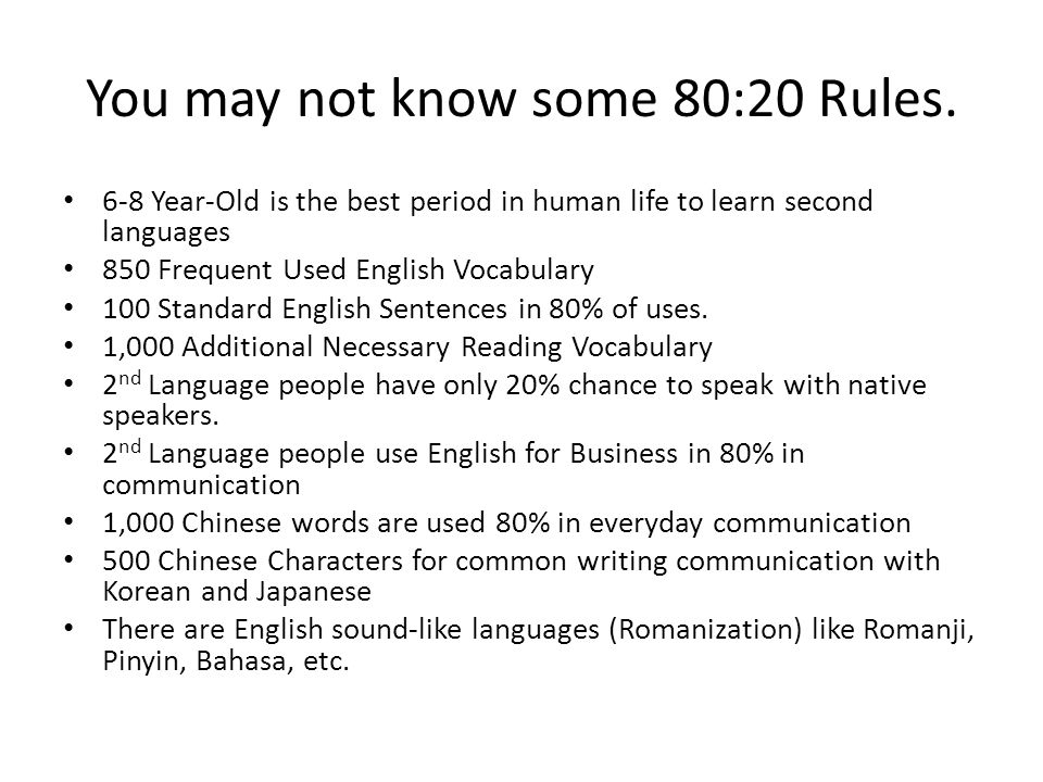 You may not know some 80:20 Rules.